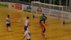 Indoor football/soccer shot save Stock Footage