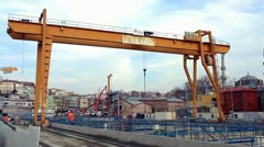 Girder gantry crane - stock footage