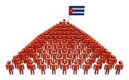 Pyramid of abstract people with cuban flag illustration Stock Illustration