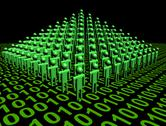 Pyramid of abstract people on binary code illustration Stock Illustration