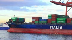Container ship unloading in seaport Stock Footage