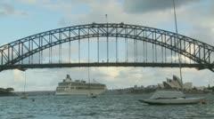 Timelapse large cruise liner under Sydney bridge (2) Stock Footage