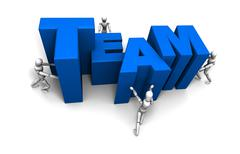People Pushing Together Team Blue Stock Illustration