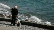 The Grandmother And A Baby At The Seashore Stock Footage