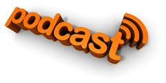 Podcast 3D Text Design - stock illustration