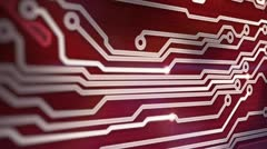 Red circuit board providing signals 3d animation Stock Footage