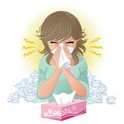blowing nose - stock illustration