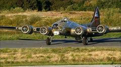 B-17 Warbird starts engines - loop Stock Footage