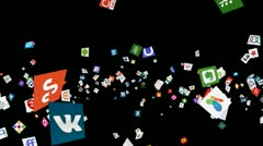 Social Network Icon Confetti Explosion - IV (+ ALPHA CHANNEL) Stock Footage