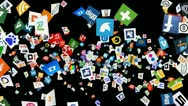 Stock Video Footage of Social Network Icon Confetti Explosion - VII (+ ALPHA CHANNEL)