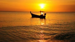 Fishing boat in the evening - stock footage