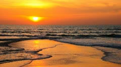 Sunset evening on the beach - stock footage