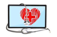 Heart  on touchpad Stock Illustration