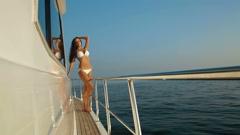 Bikini Woman Enjoying Yacht Vacation Stock Footage