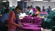 Stock Video Footage of Textile Garment Factory: Many garment workers sort purple fabric pieces