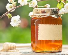 flowery honey in glass jar - stock photo