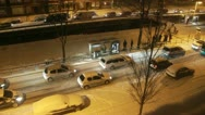 Slow traffic in heavy snow Stock Footage
