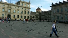 Plaza, Town Square, Birds, Pigeons Stock Footage