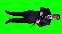 Bodyguard Full Body GreenScreen Stock Footage