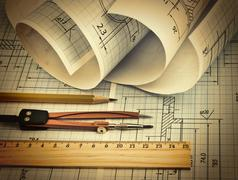 Twisted technical drawing Stock Photos