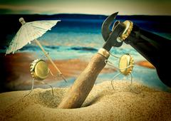 Funny bottle cork on a sandy beach Stock Photos