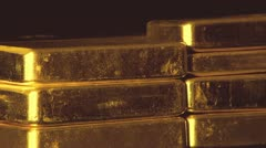 Gold bullion bars stacked up Stock Footage