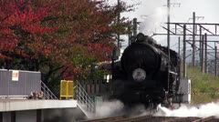 Steam Engine Reversing Out Of Umekoji Museum Stock Footage