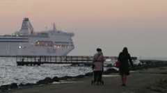 ship at sunset from mole walk - stock footage