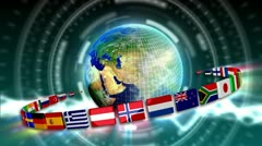 Spinning Earth with Flags - Earth 91 (HD) Stock Footage