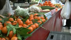 Buying Oranges At Farmer's Market Stock Footage