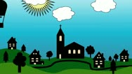 Stock Video Footage of Church and Village Cartoon