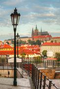 Overview of old prague from charles bridge side Stock Photos