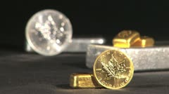 Canadian gold and silver coins Stock Footage
