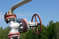 Oil valve of an oil well mouth Stock Photos