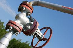 Oil valve of an oil well mouth - stock photo