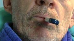 Man Suffers Flu Close Up Stock Footage
