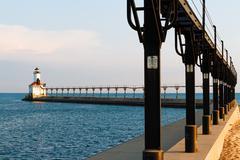 Lighthouse and Catwalk, Michigan City, Indiana Stock Photos