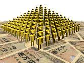 Pyramid of abstract people on japanese yen illustration Stock Illustration