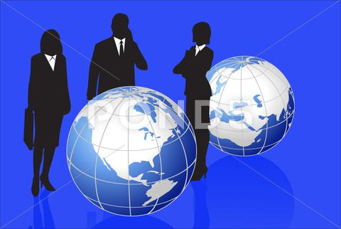 Stock Illustration of silhouettes and globes