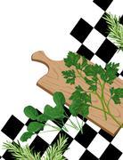 herbs on cutting board - stock illustration