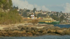 A couple at Bradleys Head in Sydney Stock Footage