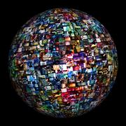 Multimedia Image Video Wall Sphere - stock illustration