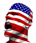 USA Flag Man Yelling - stock illustration