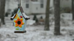 A bird house hanging in winter snow fall. Stock Footage