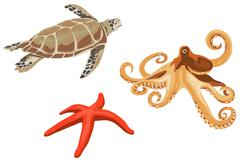 Turtle, octopus and starfish Stock Illustration