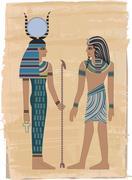 pharaoh figures - stock illustration