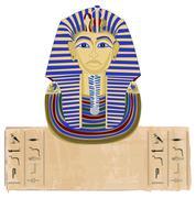 tutankhamun and hieroglyphs - stock illustration