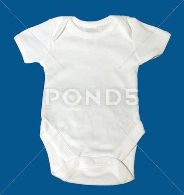 Stock photo of front of a toddler white onsie t-shirt on blue background