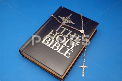 Stock photo of bible and rosary