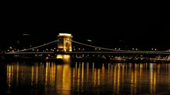 HD1080 The Széchenyi Chain Bridge by Night Stock Footage